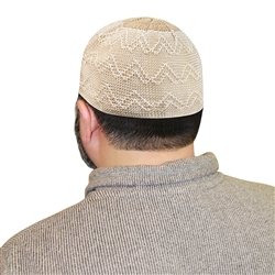 Muslim Mens Prayer Cream and White Kufi Cap Topi #KH275 | Muslim American
