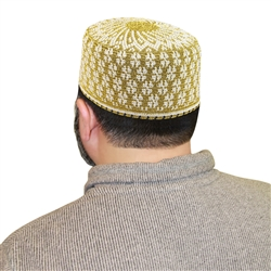 Islamic Hat Muslim Mens Prayer White and Gold Knitted Kufi Cap Bohra Topi - 22""