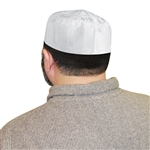Muslim Men's Saudi Style White Islamic Kufi Cap Embroidered Hat