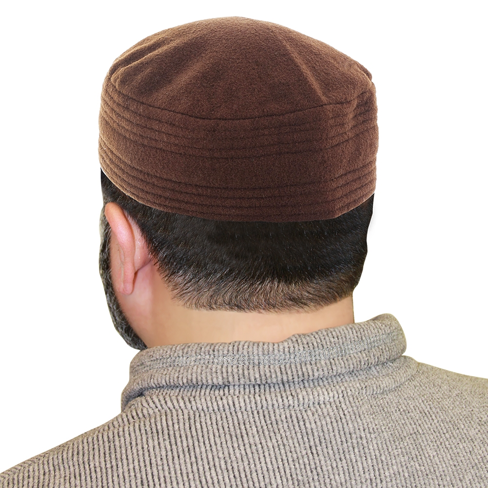Afghan Woolen Kufi Hat Muslim Mens Prayer Cap With