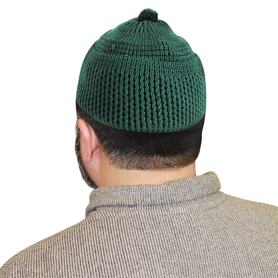 Forest Green Knit Muslim Mens Prayer Kufi 16 inch