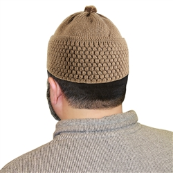 Brown Knit Muslim Mens Prayer Kufi 16 inch Hat
