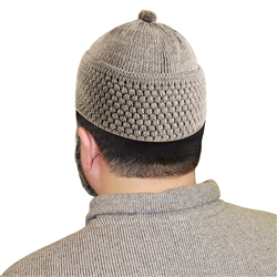 Warm Gray Knit Muslim Mens Prayer Kufi 16 inch