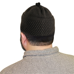 Dark Brown Knit Muslim Mens Prayer Kufi 16 inch