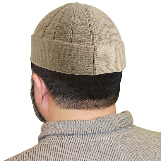 Beige Muslim Mens Prayer Kufi Hat Beanie
