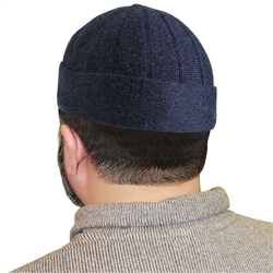 Navy Blue Muslim Mens Prayer Kufi Hat Beanie