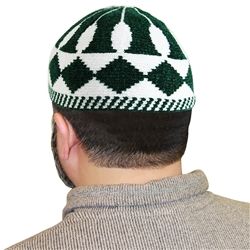 Green and White Muslim Mens Prayer Kufi Hat
