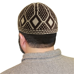 Dark Brown Muslim Mens Prayer Kufi Hat