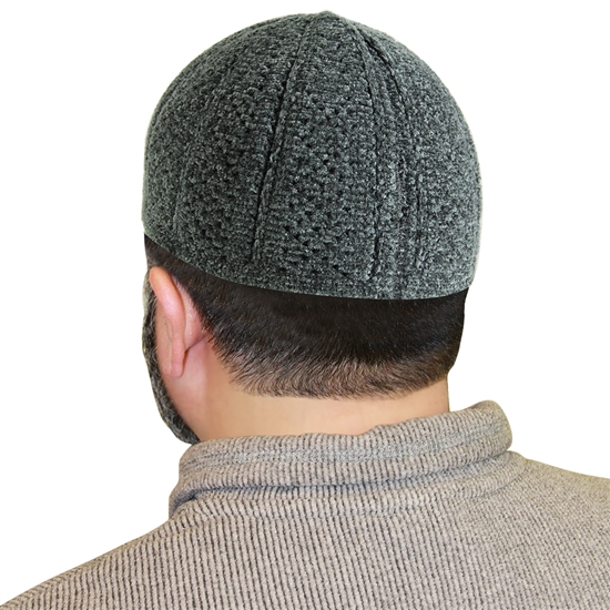 Gray Muslim Mens Prayer Kufi Hat Cuffless Beanie