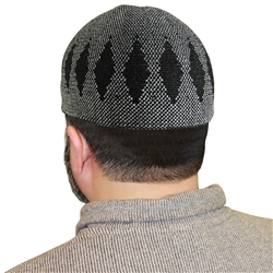 Gray Muslim Mens Prayer Kufi Hat