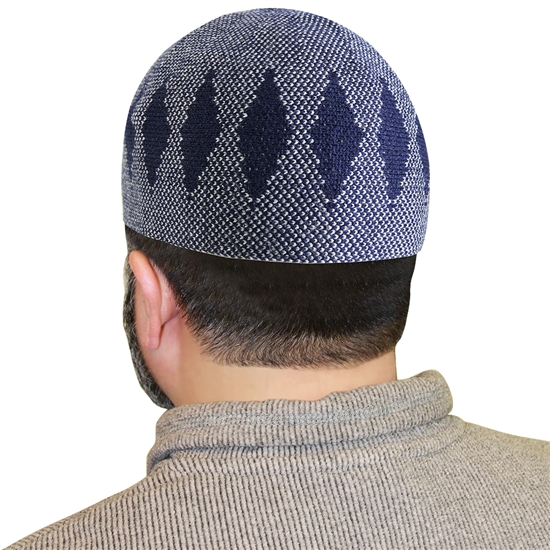Blue Muslim Mens Prayer Kufi Hat