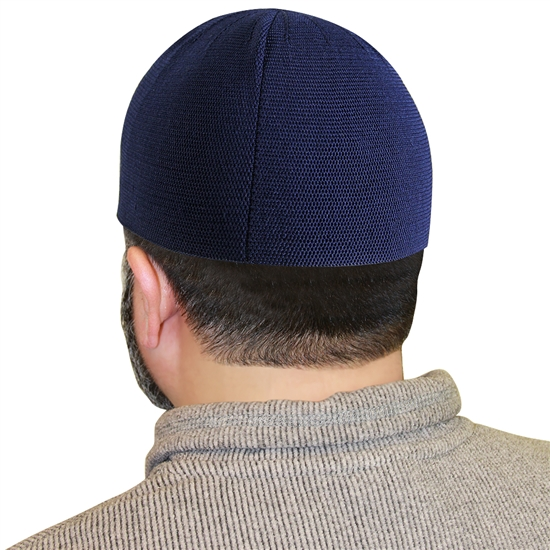 Navy Blue Knit Muslim Mens Prayer Kufi Hat Beanie