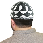White and Gray Muslim Kufi Prayer 19 inch Hat