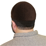 Plain Dark Brown Knit Muslim Prayer Kufi 19.5 inch