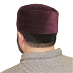 Burgundy Soft Suede Crown Muslim Kufi 20 inch Hat