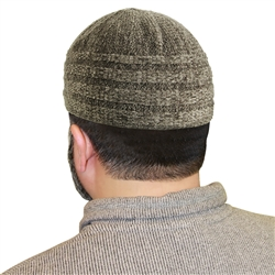 Gray Knitted Marled Mens Prayer Kufi 18 inch