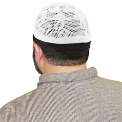 Cotton White Knitted Muslim Mens Prayer Kufi Hat