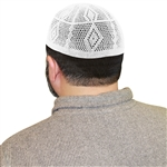 Cotton White Knit Muslim Mens Prayer Kufi