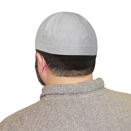 White One Size Fits Most Traditional Plain Knitted Muslim Mens Prayer Kufi Hat
