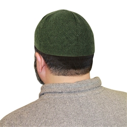 Green One Size Fits Most Traditional Plain Knitted Muslim Mens Prayer Kufi Hat