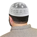 One Size White Knitted Muslim Prayer Kufi Hat with Curved Petal Pattern