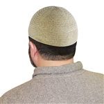 Cream One Size Fits Most Velvet Cotton Stretchable Plain Kufi Hat Prayer Cap