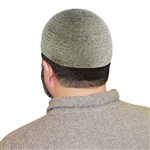 Warm Gray One Size Fits Most Velvet Cotton Stretchable Plain Kufi Hat Prayer Cap