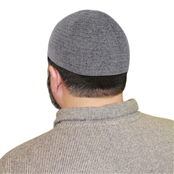 Cool Gray One Size Fits Most Velvet Cotton Stretchable Plain Kufi Hat Prayer Cap