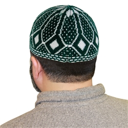 Dark Green Stretchable One Size Fits Most Kufi Hat with White Diamond Pattern