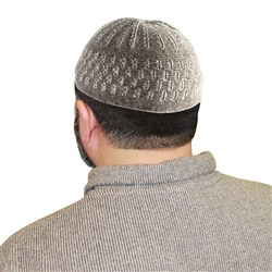 Warm Gray Prayer Kufi & White Stitching Designs