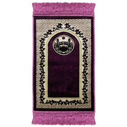 Purple Kids Prayer Rug with White Border Tassles