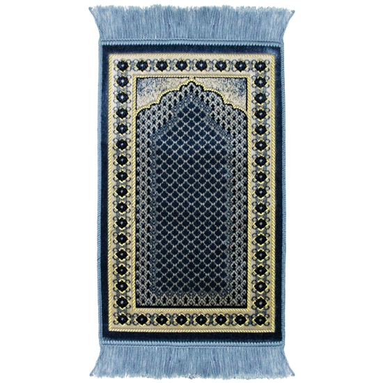 Kids Blue Mesh Archway Floral Border Prayer Rug
