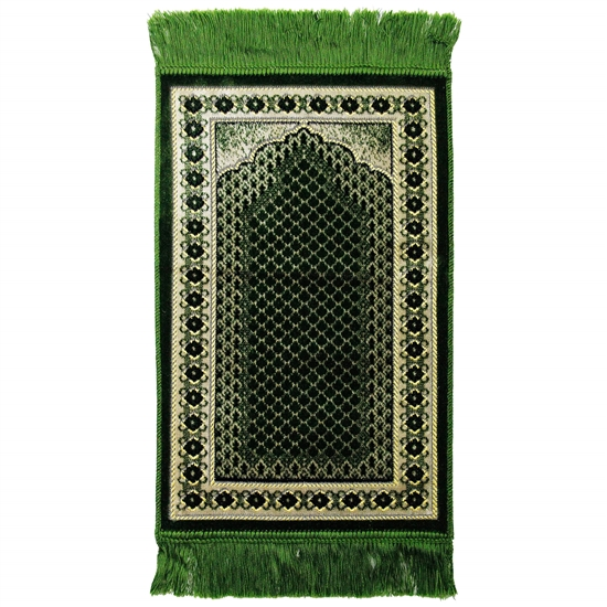 Kids Green Mesh Archway & Border Design Prayer Rug