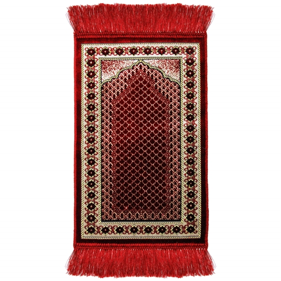 Kids Red Mesh Archway and Border Design Prayer Rug