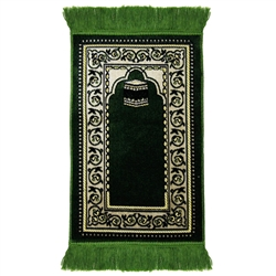 Kids Green Simple Floral and Kaaba Image with Rug