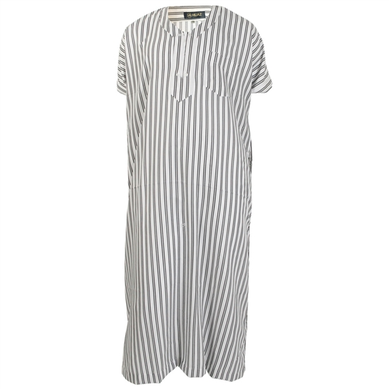 Black Stripes in White V-Neck Short Sleeve Jalabia