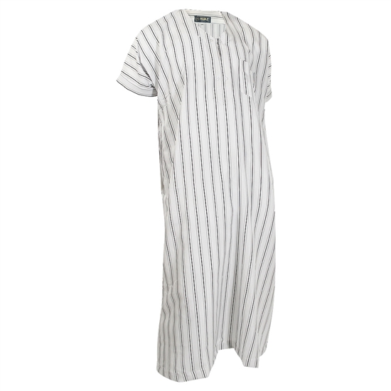 White Short Sleeve Black and Gray Triple Pinstripe