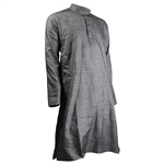 Hijaz Mandarin Collar Gray Black Lantern Print Men's Long Sleeve Cotton Kurta