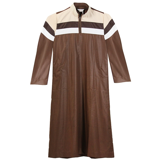 Brown Long Sleeve Casual Thobe with Tan and White Chest Designs