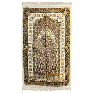 Muslim Prayer Rug 2.2' x 3.7' with Wonderful White, Black and Yellow Design