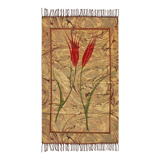 Muslim Prayer Rug Mat Gold Red Green Color with Tassels #PM261