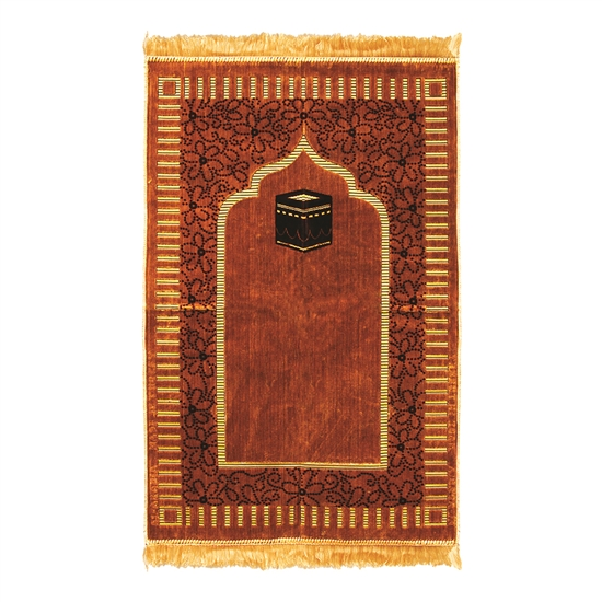 Muslim Prayer Rug Mat 2.3' x 3.6' Gold Tan and Brown Color Tassels