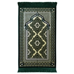 Muslim Prayer Rug Mat Green and Cream with Tassels