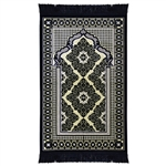 Muslim Prayer Rug Mat Navy Blue and Cream with Tassels