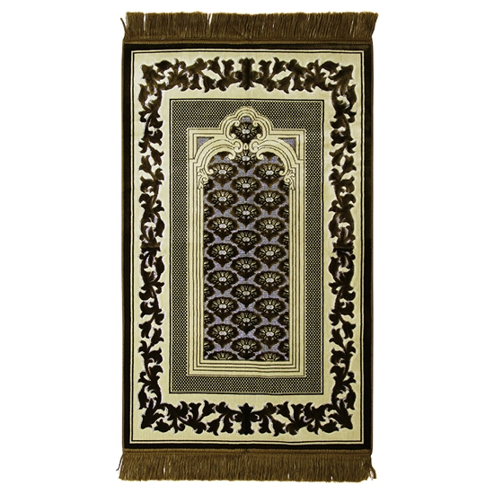 Muslim Prayer Rug Mat Green Tan with Green Tassels