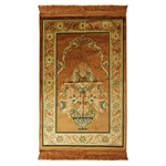 Muslim Prayer Rug Mat Tan Color with Tassels