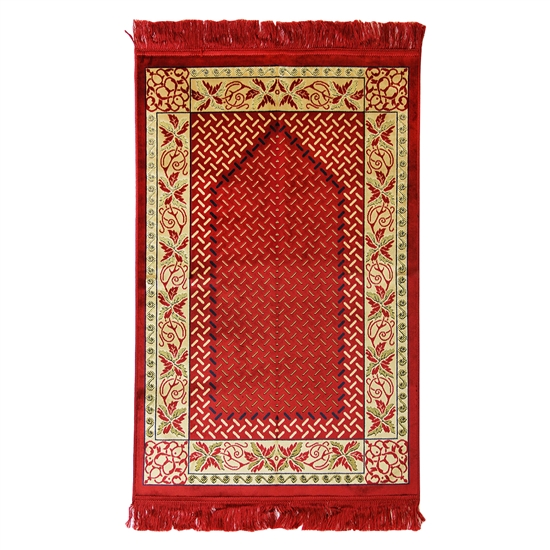 Muslim Prayer Rug Mat Red Black & Tan with Tassels