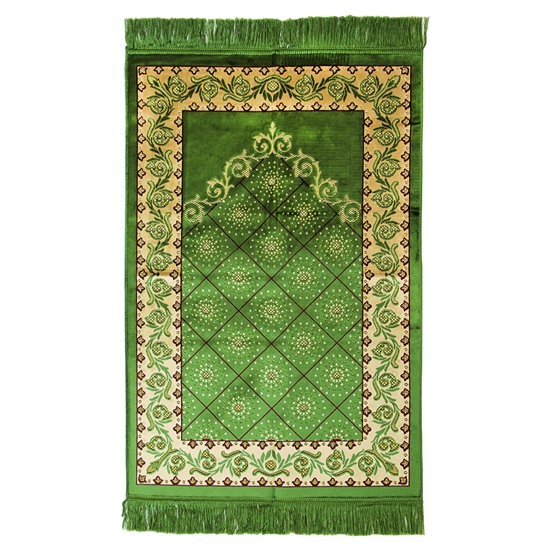 Prayer Rug Mat Green and Tan Design with Tassels