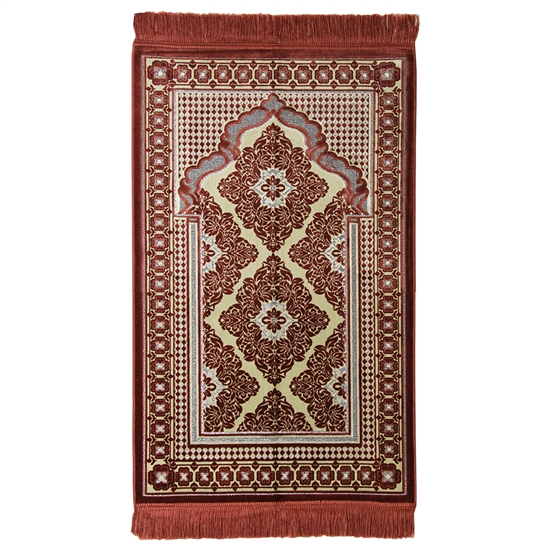 Muslim Prayer Rug Mat Brown and Cream with Tassels