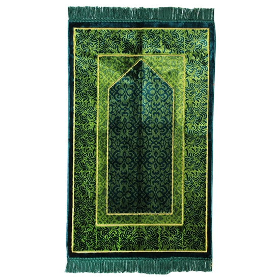Muslim Prayer Rug Mat Dark Green Tan with Tassels